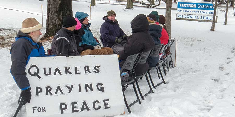 Quakers Praying for Peace at Textron Industries, Wilmington, MA