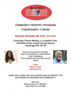 Re-Entry Program Fundraiser Flyer