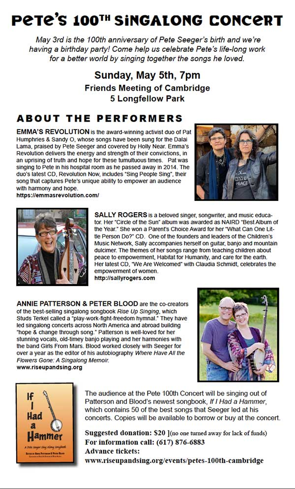 Pete Seeger Singalong Info Sheet