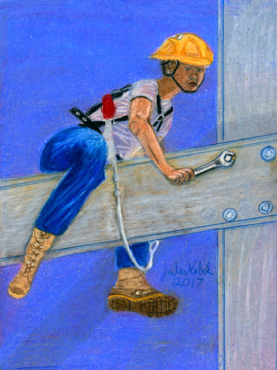 Driver of Wands: Young construction worker astride beam in mid-air adjusting bolt.