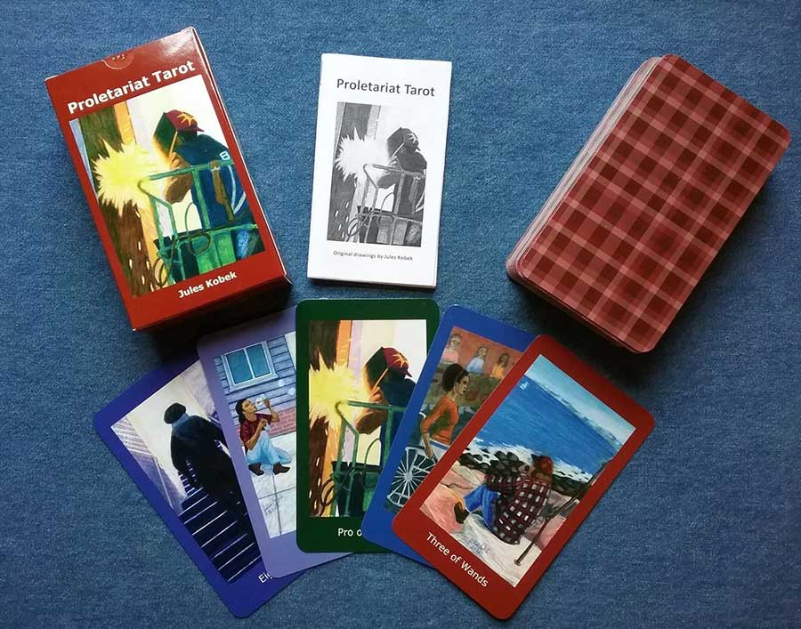 Proletariat Tarot: Display of several cards, box cover, booklet, and stack of cards.