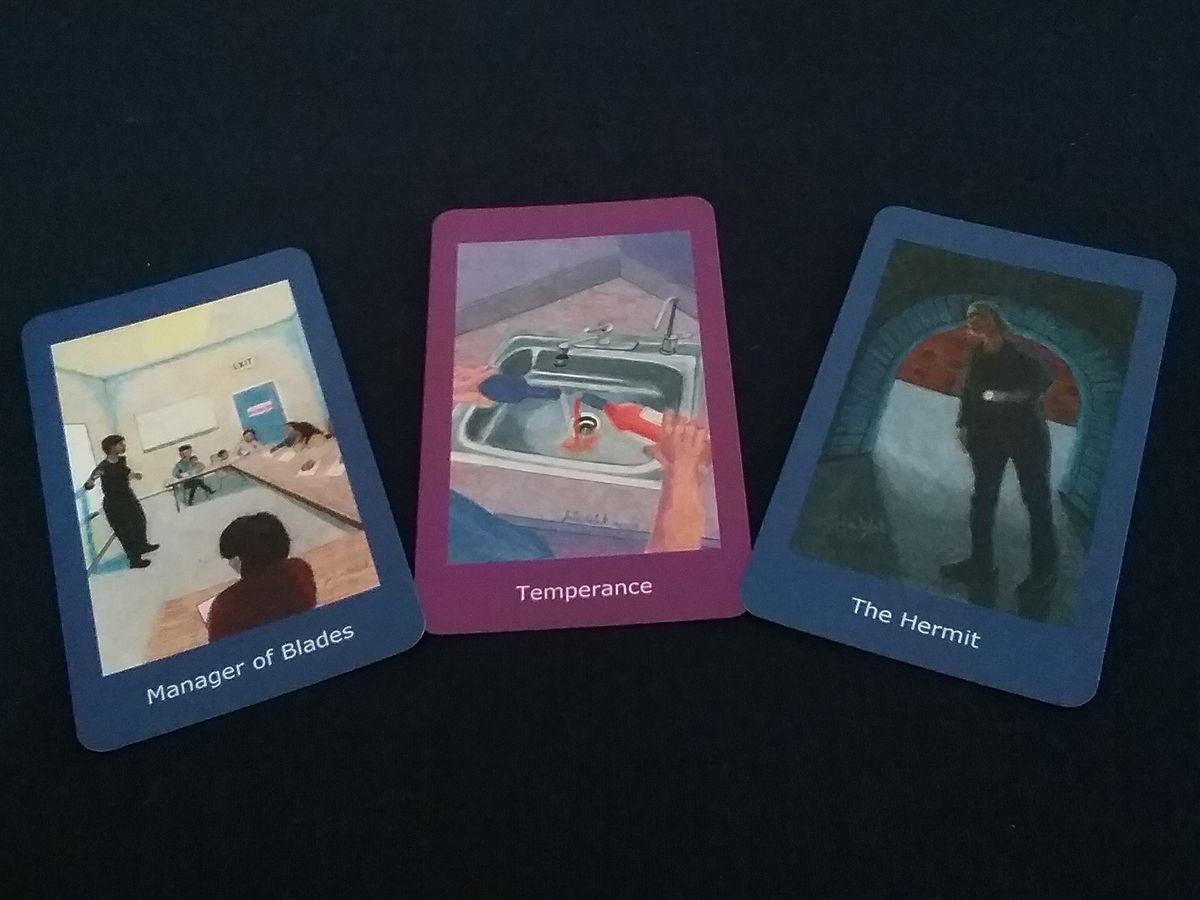 Selection of Cards 3: Three cards. Manager of Blades, teacher with class of adult learners. Temperance, two bottles of alcohol emptied in sink. The Hermit, older woman with flashlight peering into tunnel.