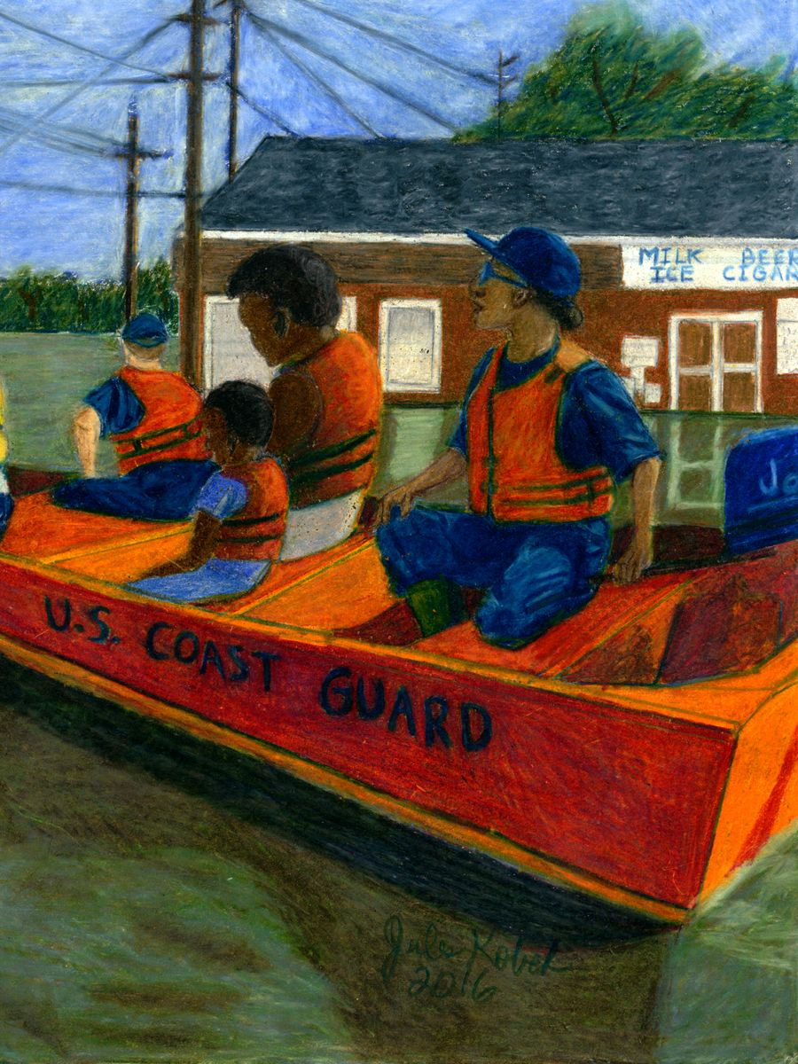 Six of Blades: Coast guard boat rescuing people from flood.