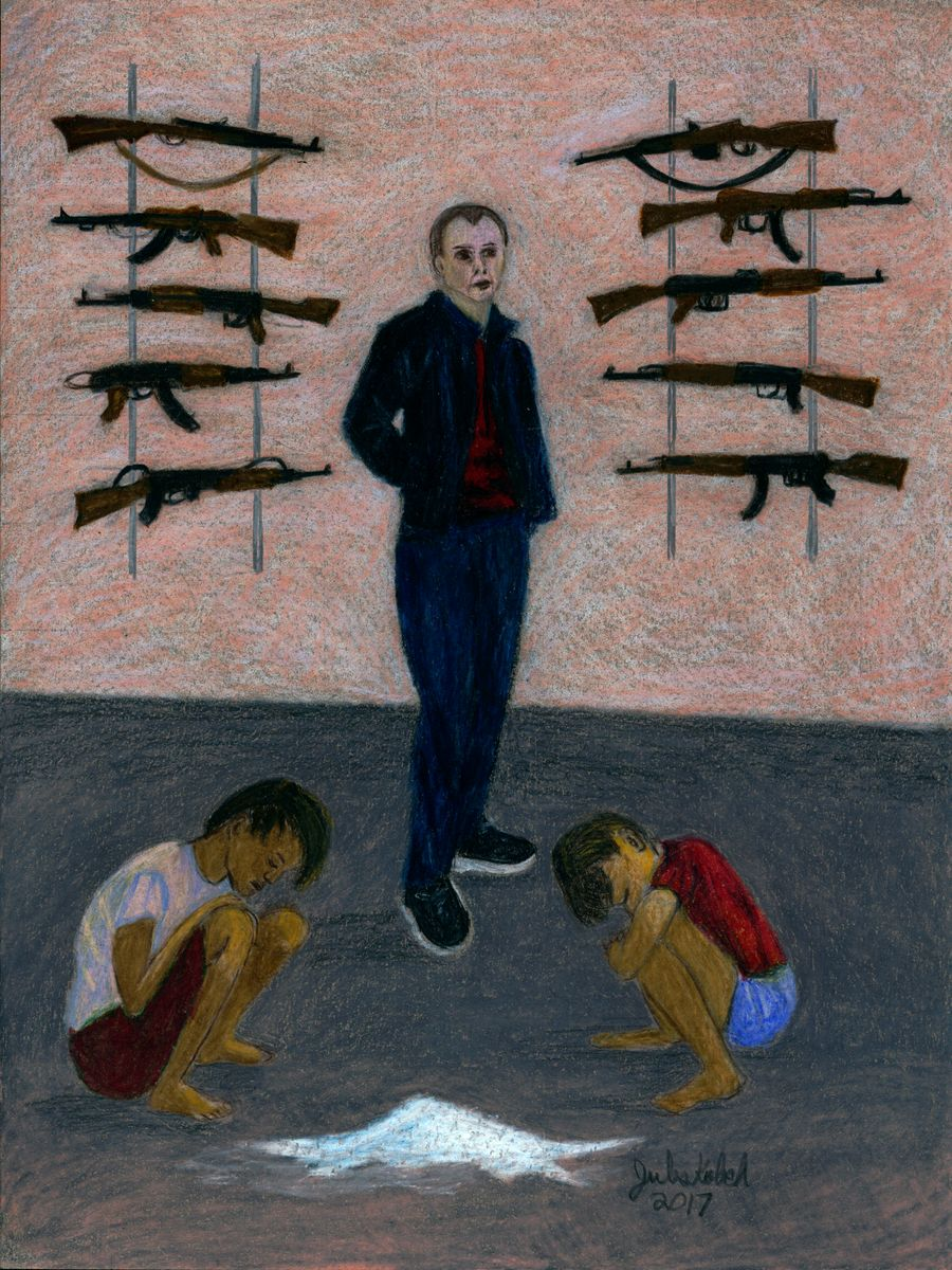 The Devil: Man stands with racks of guns behind, two child slaves kneeling and powdered heroin in front.