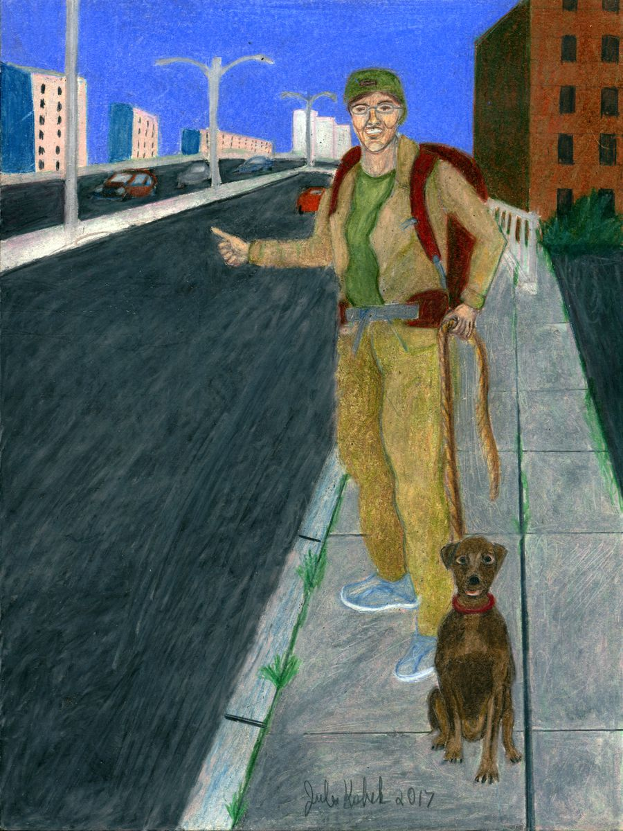 The Fool: Young hitchhiker with dog at side of highway.