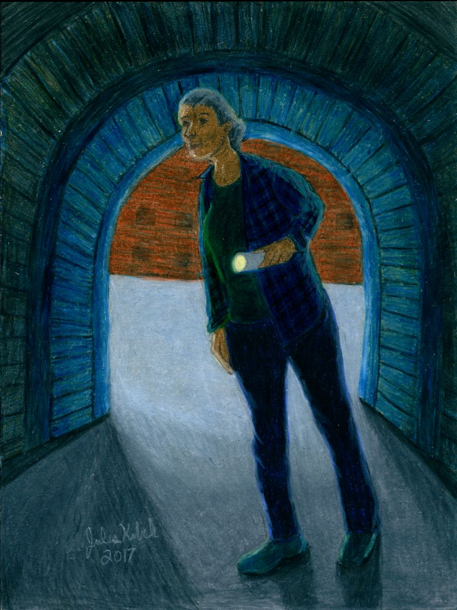 The Hermit: Older woman with flashlight peers into tunnel.