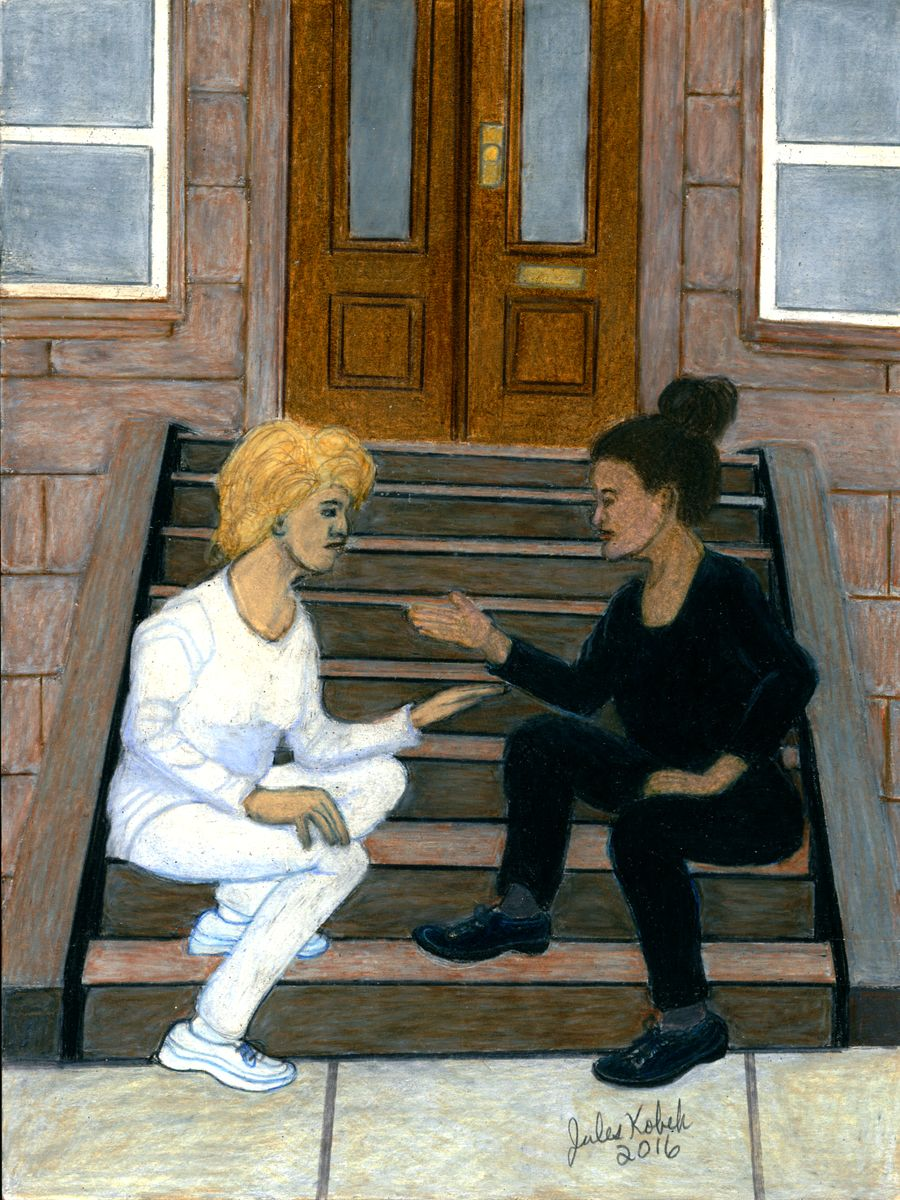 The Priestess: Woman in black explaining to woman in white. Both sitting on steps leading to closed door.