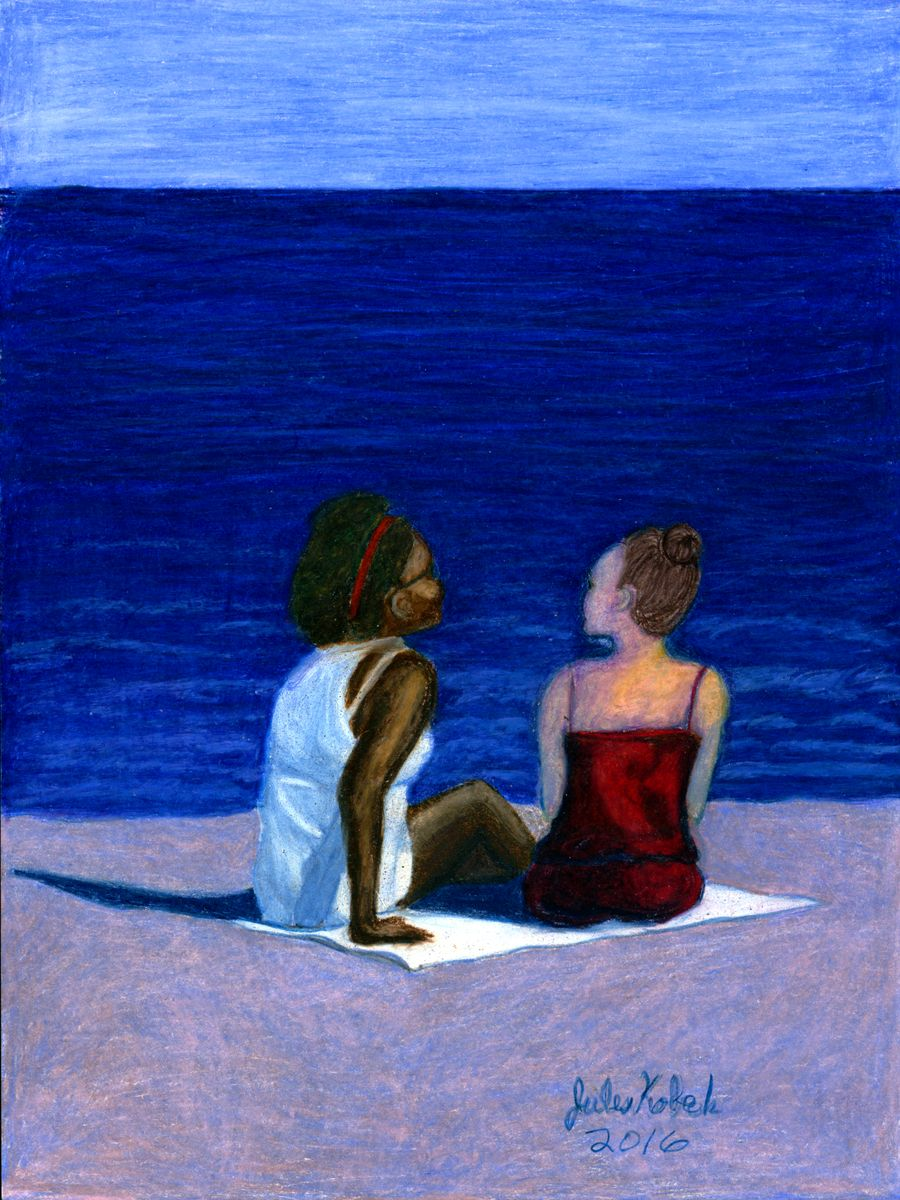 Two of Cups: Two women sit together on beach.