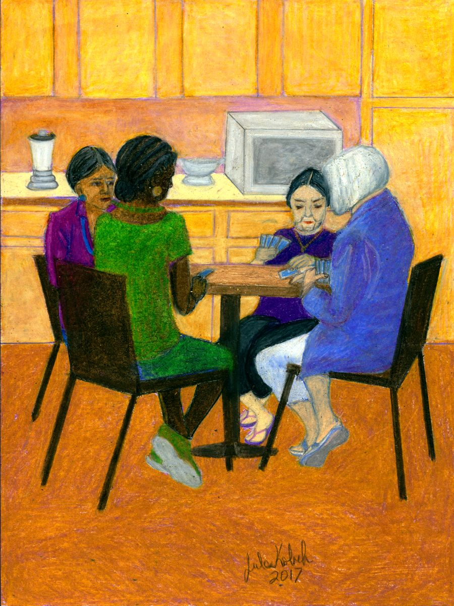 Wheel of Fortune: Four women play cards around kitchen table.